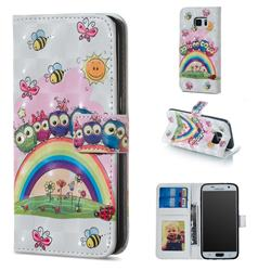 Rainbow Owl Family 3D Painted Leather Phone Wallet Case for Samsung Galaxy S7 G930