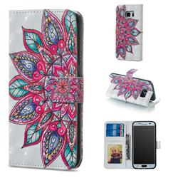 Mandara Flower 3D Painted Leather Phone Wallet Case for Samsung Galaxy S7 G930