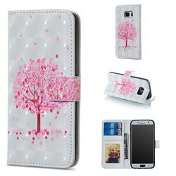Sakura Flower Tree 3D Painted Leather Phone Wallet Case for Samsung Galaxy S7 G930