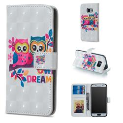 Couple Owl 3D Painted Leather Phone Wallet Case for Samsung Galaxy S7 G930