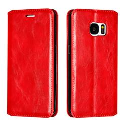 Retro Slim Magnetic Crazy Horse PU Leather Wallet Case for Samsung Galaxy S7 G930 - Red