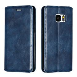 Retro Slim Magnetic Crazy Horse PU Leather Wallet Case for Samsung Galaxy S7 G930 - Blue