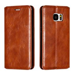 Retro Slim Magnetic Crazy Horse PU Leather Wallet Case for Samsung Galaxy S7 G930 - Brown