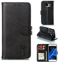 Embossing Happy Cat Leather Wallet Case for Samsung Galaxy S7 G930 - Black