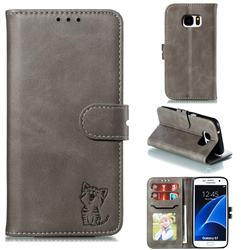Embossing Happy Cat Leather Wallet Case for Samsung Galaxy S7 G930 - Gray