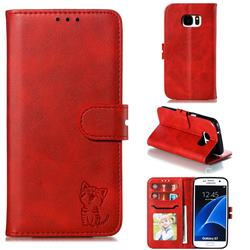 Embossing Happy Cat Leather Wallet Case for Samsung Galaxy S7 G930 - Red