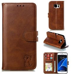 Embossing Happy Cat Leather Wallet Case for Samsung Galaxy S7 G930 - Brown