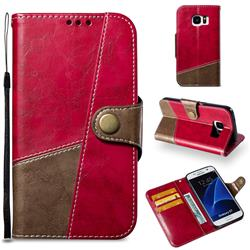 Retro Magnetic Stitching Wallet Flip Cover for Samsung Galaxy S7 G930 - Rose Red