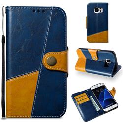 Retro Magnetic Stitching Wallet Flip Cover for Samsung Galaxy S7 G930 - Blue