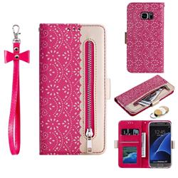 Luxury Lace Zipper Stitching Leather Phone Wallet Case for Samsung Galaxy S7 G930 - Rose