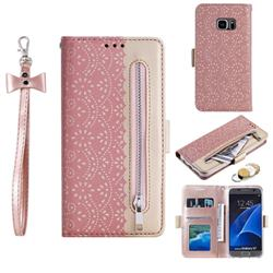 Luxury Lace Zipper Stitching Leather Phone Wallet Case for Samsung Galaxy S7 G930 - Pink