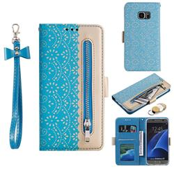 Luxury Lace Zipper Stitching Leather Phone Wallet Case for Samsung Galaxy S7 G930 - Blue