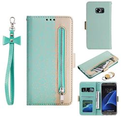 Luxury Lace Zipper Stitching Leather Phone Wallet Case for Samsung Galaxy S7 G930 - Green