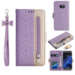 Luxury Lace Zipper Stitching Leather Phone Wallet Case for Samsung Galaxy S7 G930 - Purple