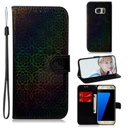 Laser Circle Shining Leather Wallet Phone Case for Samsung Galaxy S7 G930 - Black