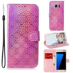Laser Circle Shining Leather Wallet Phone Case for Samsung Galaxy S7 G930 - Pink