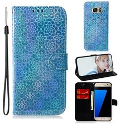 Laser Circle Shining Leather Wallet Phone Case for Samsung Galaxy S7 G930 - Blue