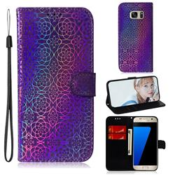 Laser Circle Shining Leather Wallet Phone Case for Samsung Galaxy S7 G930 - Purple