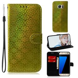 Laser Circle Shining Leather Wallet Phone Case for Samsung Galaxy S7 G930 - Golden
