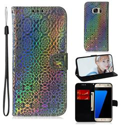 Laser Circle Shining Leather Wallet Phone Case for Samsung Galaxy S7 G930 - Silver