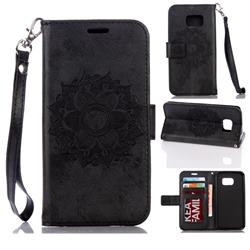 Embossing Retro Matte Mandala Flower Leather Wallet Case for Samsung Galaxy S7 G930 - Black