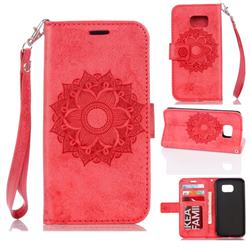Embossing Retro Matte Mandala Flower Leather Wallet Case for Samsung Galaxy S7 G930 - Red