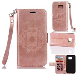 Embossing Retro Matte Mandala Flower Leather Wallet Case for Samsung Galaxy S7 G930 - Rose Gold