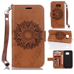 Embossing Retro Matte Mandala Flower Leather Wallet Case for Samsung Galaxy S7 G930 - Brown
