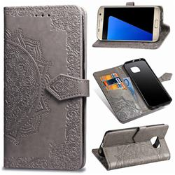 Embossing Imprint Mandala Flower Leather Wallet Case for Samsung Galaxy S7 G930 - Gray