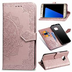 Embossing Imprint Mandala Flower Leather Wallet Case for Samsung Galaxy S7 G930 - Rose Gold