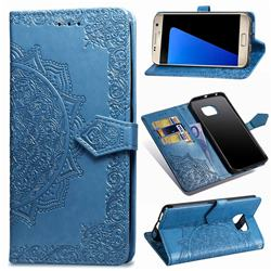 Embossing Imprint Mandala Flower Leather Wallet Case for Samsung Galaxy S7 G930 - Blue