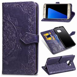Embossing Imprint Mandala Flower Leather Wallet Case for Samsung Galaxy S7 G930 - Purple