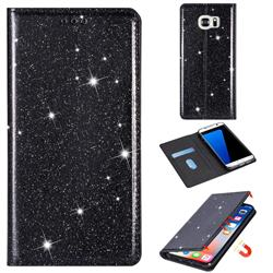 Ultra Slim Glitter Powder Magnetic Automatic Suction Leather Wallet Case for Samsung Galaxy S7 G930 - Black