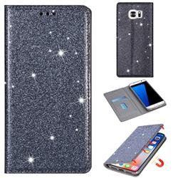 Ultra Slim Glitter Powder Magnetic Automatic Suction Leather Wallet Case for Samsung Galaxy S7 G930 - Gray