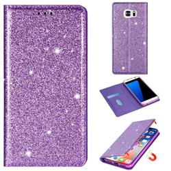Ultra Slim Glitter Powder Magnetic Automatic Suction Leather Wallet Case for Samsung Galaxy S7 G930 - Purple