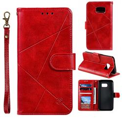 Embossing Geometric Leather Wallet Case for Samsung Galaxy S7 G930 - Red