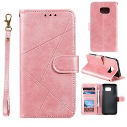 Embossing Geometric Leather Wallet Case for Samsung Galaxy S7 G930 - Rose Gold