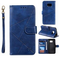 Embossing Geometric Leather Wallet Case for Samsung Galaxy S7 G930 - Blue