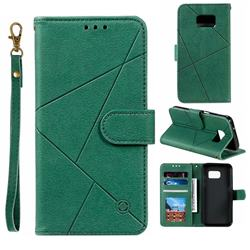 Embossing Geometric Leather Wallet Case for Samsung Galaxy S7 G930 - Green