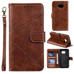 Embossing Geometric Leather Wallet Case for Samsung Galaxy S7 G930 - Brown