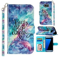 Blue Starry Sky 3D Leather Phone Holster Wallet Case for Samsung Galaxy S7 G930