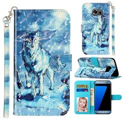 Snow Wolf 3D Leather Phone Holster Wallet Case for Samsung Galaxy S7 G930