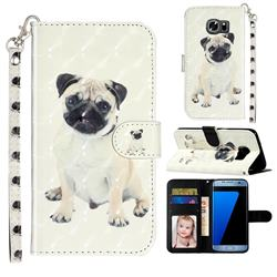 Pug Dog 3D Leather Phone Holster Wallet Case for Samsung Galaxy S7 G930