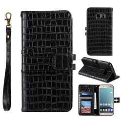 Luxury Crocodile Magnetic Leather Wallet Phone Case for Samsung Galaxy S7 G930 - Black