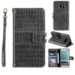 Luxury Crocodile Magnetic Leather Wallet Phone Case for Samsung Galaxy S7 G930 - Gray