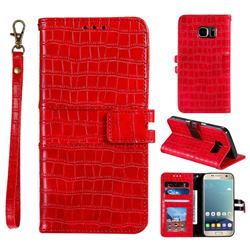 Luxury Crocodile Magnetic Leather Wallet Phone Case for Samsung Galaxy S7 G930 - Red