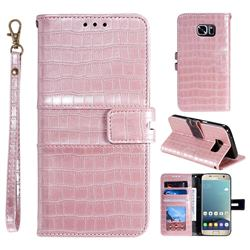 Luxury Crocodile Magnetic Leather Wallet Phone Case for Samsung Galaxy S7 G930 - Rose Gold