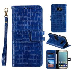 Luxury Crocodile Magnetic Leather Wallet Phone Case for Samsung Galaxy S7 G930 - Blue