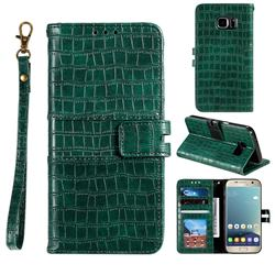 Luxury Crocodile Magnetic Leather Wallet Phone Case for Samsung Galaxy S7 G930 - Green