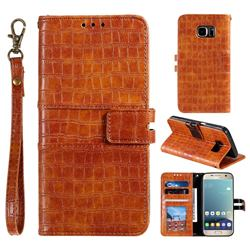 Luxury Crocodile Magnetic Leather Wallet Phone Case for Samsung Galaxy S7 G930 - Brown